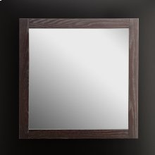 "Wall-mount mirror in wooden frame, 32""W, 32""H."