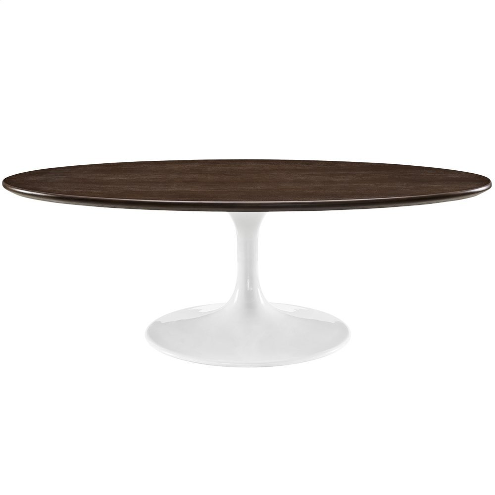 "Lippa 48"" Oval-Shaped Walnut Coffee Table in Walnut"