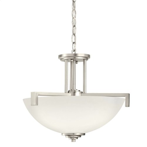 Eileen 3 Light Convertible Pendant with LED Bulbs Brushed Nickel