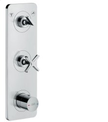 Chrome Thermostatic module 380/120 for 2 outlets for concealed installation