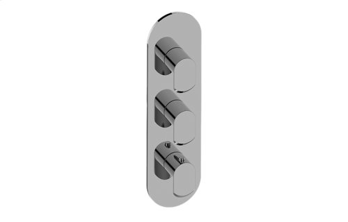 Phase Round Thermostatic 3-Hole Trim Plate and Handle