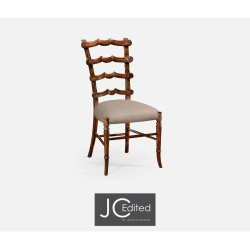 """Walnut """"Yoke"""" Ladderback Side Chair, Upholstered in MAZO"""