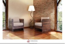 Solid wood Chair w/arm rests, Seat & Back cushions