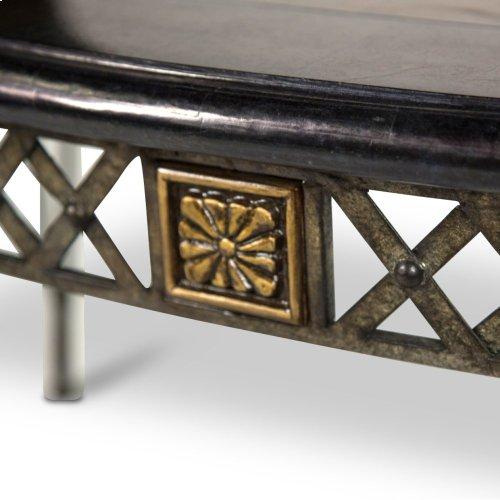 Sanchez Rectangular Cocktail Table W/decorative Metal Base