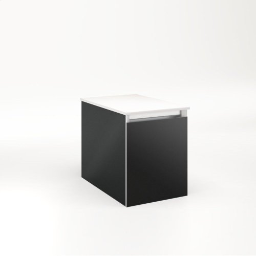 """Cartesian 12-1/8"""" X 15"""" X 18-3/4"""" Single Drawer Vanity In Matte Black With Slow-close Full Drawer and Night Light In 5000k Temperature (cool Light)"""
