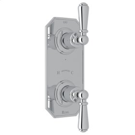 """Polished Chrome Perrin & Rowe Edwardian 1/2"""" Thermostatic/Diverter Control Trim with Edwardian Metal Lever"""