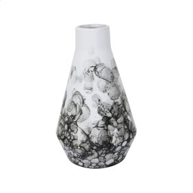 "Ceramic 9"" Beaker Vase Black/white"