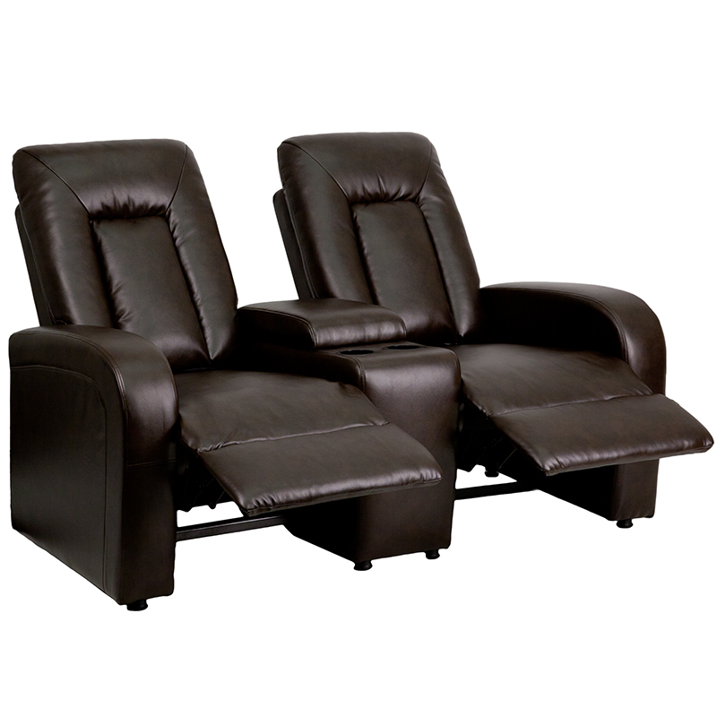 Eclipse Series 2-Seat Reclining Brown Leather Theater Seating Unit with Cup Holders