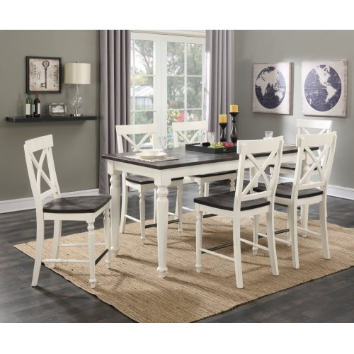 Emerald Home 7 Piece Mountain Retreat Antique White and Dark Mocha Gathering Height Dining Table and 6 Bar Stools D601-13-09-7pcset1-k