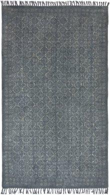 5'x8' Size Tribal Block Print Blue Slate Rug