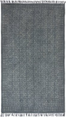 5'x8' Size Tribal Block Print Blue Slate Rug
