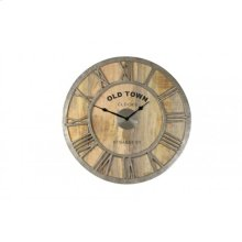 Clock 61 cm OLD TOWN BAILY wood raw nickel