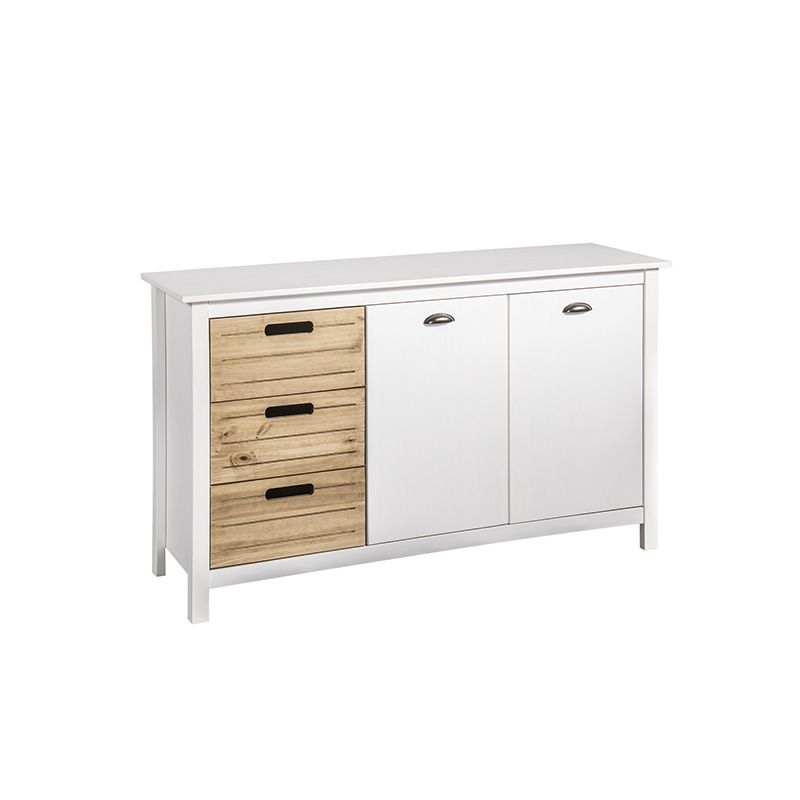 """Mid-Century Modern-Rustic 3-Drawer Irving 51.18"""" Dresser Cabinet 4.0 in White and Natural Wood"""