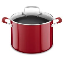 Aluminum Nonstick 8.0-Quart Stockpot with Lid - Empire Red