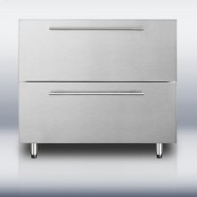 """36"""" wide stainless steel two-drawer refrigerator for built-in or freestanding use with thin handles; made for us by Ariston in Italy"""