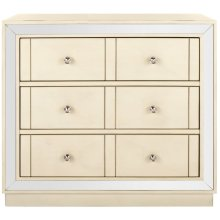 Sloane 3 Drawer Chest - Antique Beige / Nickel / Mirror