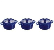 STAUB Ceramic 3-Piece Mini Cocottes Blue