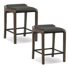 Graystone Wood Fastback Counter Height Stool with Black Faux Leather Seat #10116GS/BL - Set of 2