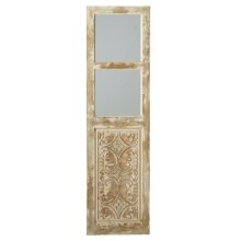 Distressed Ivory Scroll Carving Window Wall Mirror.