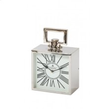 Clock 20,5x11,5x30,5 cm LONDON nickel with white clockface