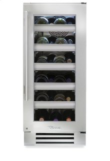 15 Inch Stainless Glass Door Wine Cabinet - Left Hinge Stainless Glass