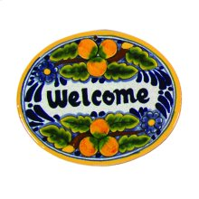 Small 'Welcome' Hand Painted Plaque in Peaches