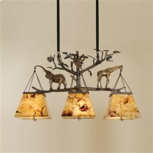 DARK BRONZE FINISHED CAST BRAS S CHANDELIER WITH ANIMAL MOTIF , TIGER PENSHELL SHADES