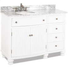 "48"" vanity with White finish, beadboard doors, curved shape, and preassembled top and bowl."