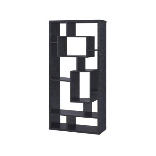 Transitional Black Oak Bookcase