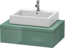Console Including Drawer For Washbowls, Jade High Gloss Lacquer