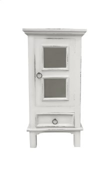 CC-CHE324LD-WW  Cottage One Door End Table  Drawer  Nightstand  Distressed White