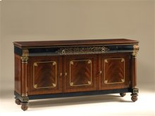 MAHOGANY AND BLACK LACQUER FIN ISHED TV STAND, HANDPAINTED GO LD AND AMBER BRASS ACCENTS