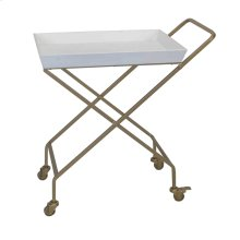 Gold Metal Bar Cart: White Top