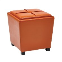 2-piece Orange Vinyl Ottoman Set