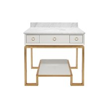White Lacquer Bath Vanity Paired With Gold Leaf Base & Hardware.