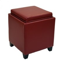 Rainbow Contemporary Storage Ottoman With Tray in Red Bonded Leather