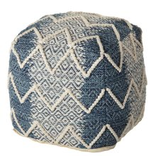 Blue Ombre with Diamond Pattern Woven Pouf