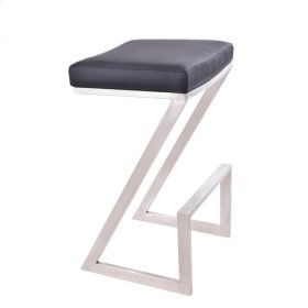 """Armen Living Atlantis 30"""" Backless Barstool in Brushed Stainless Steel finish with Black Pu upholstery"""