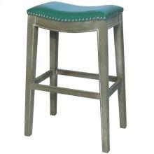 Elmo Bonded Leather Bar Stool Mystique Gray Frame, Turquoise