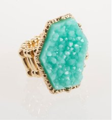 BTQ Teal Stone Gold Ring