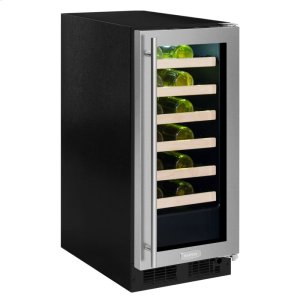Marvel15-In Built-In High Efficiency Single Zone Wine Refrigerator with Door Style - Stainless Steel Frame Glass, Door Swing - Right