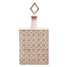 Rectangular Ceramic with Geometric Design Jar, Medium