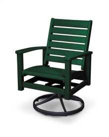 Green & Textured Black Signature Swivel Rocking Chair