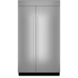 48-inch Stainless Steel Panel Kit for Fully Integrated Built-In Side-by-Side Refrigerator - EURO-STYLE STAINLESS HANDLE