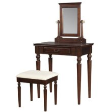 """Brown Cherry"" Vanity, Mirror & Bench"