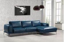 Divani Casa Drancy Modern Blue Bonded Leather Sectional Sofa