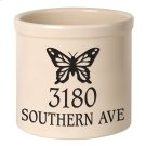Personalized Butterfly 2 Gallon Stoneware Crock - Black Engraving / Bristol Crock Product Image