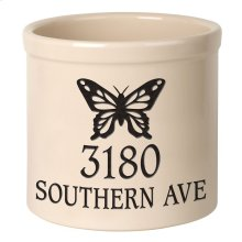 Personalized Butterfly 2 Gallon Stoneware Crock - Black Engraving / Bristol Crock