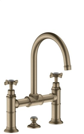 Brushed Nickel 2-handle basin mixer 220 with cross handles and pop-up waste set