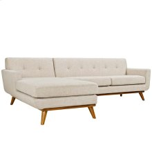 Engage Left-Facing Upholstered Fabric Sectional Sofa in Beige